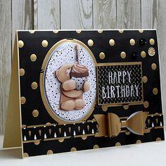 Kartka z życzeniami na urodziny - ręcznie wykonana