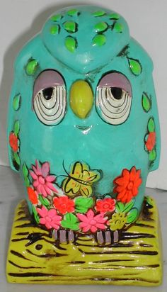 Vintage 60s Retro Sleepy Owl Psychedelic Bank by RumbleSeatCat, $12.25