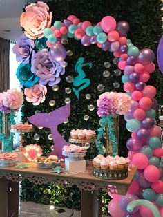 Photo backdrop Do it half way then on one side do straight down the clear balloons in a line down the other side. Mermaid Party Decorations, Balloon Decorations, Birthday Party Decorations, Birthday Parties, Mermaid Baby Showers, Baby Mermaid, Mermaid Theme Birthday, Little Mermaid Parties, Baby Girl Shower Themes