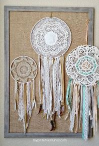 vintage doily bohemian dream catcher, crafts, how to, repurposing upcycling, shabby chic