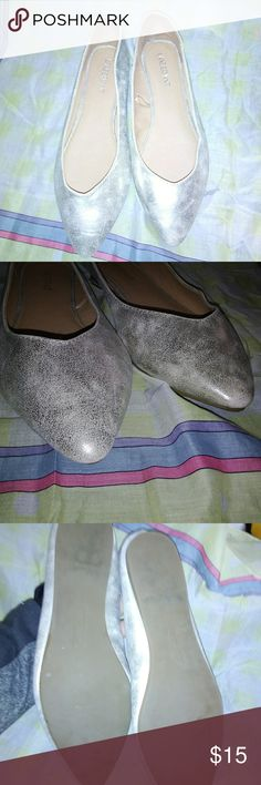 Gold Metallic Lane Bryant Flat Shoes Metallic golden color, slightly pointed toe. Size 10 Wide Width.  In gently used condition. Lane Bryant Shoes Flats & Loafers