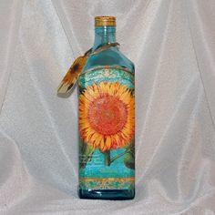 Darčeková fľaša Blankytná so slnečnicou