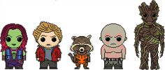 Guardians of the Galaxy: Guardians 5 Pack (Drax, Gamora, Star-Lord, Rocket, and Groot) Chart PDF Pattern