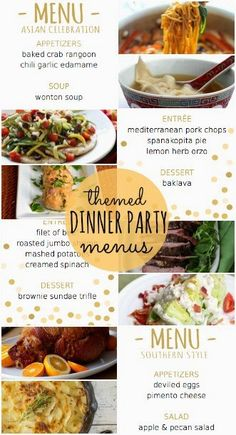 Four themed dinner party menus with recipes and printable menus - Asian, Greek, Steakhouse, and Southern - great for New Years Eve dinner parties