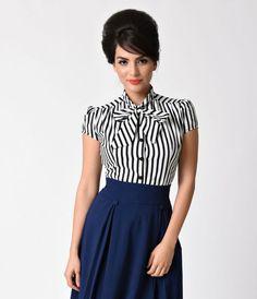 8bdee5edc61 Heart of Haute Retro Style Black   White Stripe Cap Sleeve Estelle Blouse