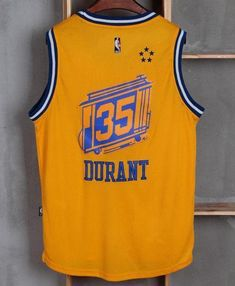 Men GSW 35 Kevin Durant Jersey Yellow City Edition Golden State Warriors 1a47de3425d
