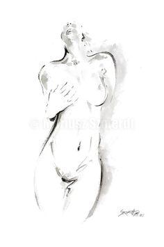 Nackte Frau Kunst Malerei. Weibliche Malerei minimalistischen abstrakten Poster. Nackte Mädchen weibliche Nacktheit Wall Decor erotischen Stil. Art von Papier: Drucke bis zu (42 x 29, 7cm), 11 X 16 Zoll Größe auf Archivierung Säure frei 270g/m2 weiß Aquarell Fine Artpapier gedruckt und