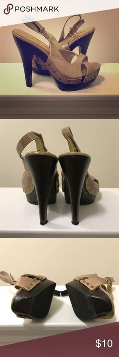 Adorable Wooden platform peep toe heels Used wooden platform peep toe strappy platform sling back heels. Still a lot of life left in these. Qupid Shoes Heels