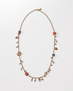 Bead & Leaf Dangle Necklace