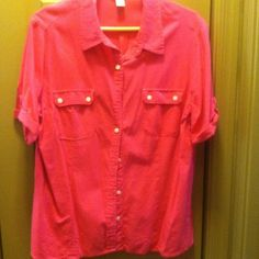 Blouse Hot pink button front with tab on short sleeves. White Stag Tops Blouses