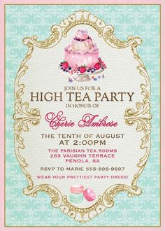 Victorian high tea party invitationssurprise party invitation cake macaron high tea invitation stopboris Gallery