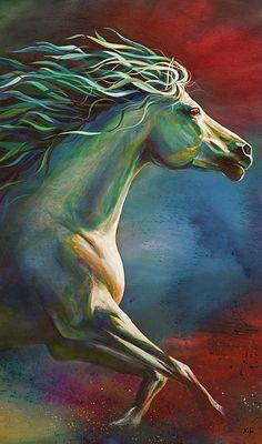 Horse Painting - Runnig Wild by Kim Kubena Pretty Horses, Beautiful Horses, Horse Drawings, Art Drawings, Animal Paintings, Horse Paintings, Equine Art, Horse Pictures, Horse Art