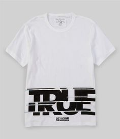 From True Religion& this shirt features:Crew necklineLong sleeves'True' graphic print on the hemCottonMachine washImported. T Shirt Design Template, White T, T Shirt Diy, Printed Tees, True Religion, Hooded Sweatshirts, Shirt Style, Fashion Outfits, Fashion Styles