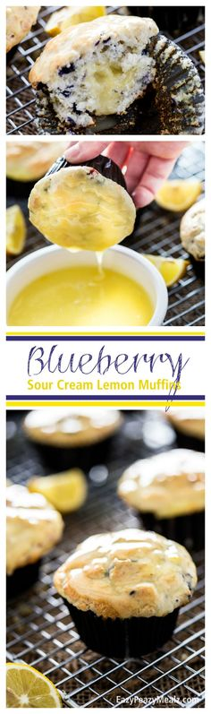 Blueberry Sour Cream Lemon Muffins. Tender muffins with a sour cream lemon filling and glaze! Literally the best muffin I have ever eaten! And SOOO much easier to make then you would think. #ad - Eazy Peazy Mealz