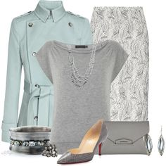 """Mint and Gray for the Office"" by kginger on Polyvore"