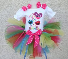 *Girls Cookie Monster,Elmo and Abby Caddaby Rainbow Brights Quick Ship Tutu Set