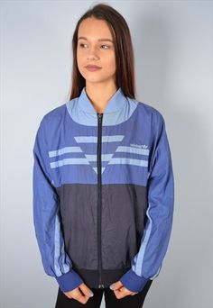 Adidas Womens Vintage Tracksuit Bomber Jacket Large Blue