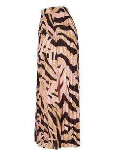 Earths Texture Zebra Print Pleated Midi Skirt | Oliver Bonas Earth Texture, Spirit Clothing, Oliver Bonas, Pleated Midi Skirt, Zebra Print, Pajama Pants, Brown, Skirts, Pink