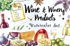 Wine and winery products watercolor by Vikeriya on @creativemarket