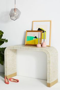 Slide View: 1: Waterfall Inlay Console Table