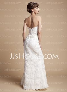 Mermaid Sweetheart Floor-Length Organza Satin Wedding Dresses With Lace Sashes (002011670)