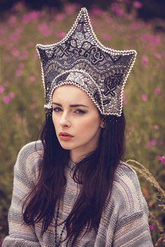 Couture Beaded 'Twilight' Kokoshnik Headdress