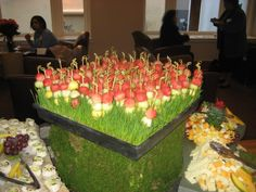 fruit kebabs in round ball format...place them in organic green grass beds and make a statement at your next buffet! jandvcatering.com