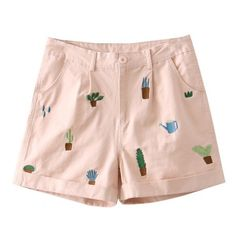Shorts with Plants Embroidery (602.100 VND) ❤ liked on Polyvore featuring shorts and embroidered shorts