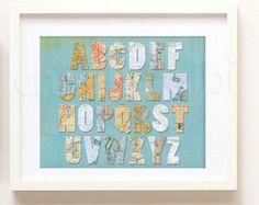 Printable - Vintage Map Alphabet nursery print art kid children travel atlas baby boy baby girl print instant download printable digital