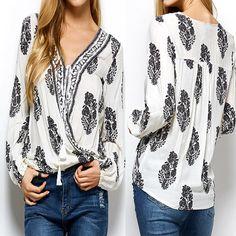 a781c775194 Zanzea Boho Women Lace-Up Long Sleeve Printed Casual Loose Blouse T-Shirt