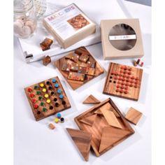 Petit Jeux de bois : Dimension : 4 x 4 x ⅟₂ 4 Modèles : 5 Exeptions, Matchers, Solitaire, Tangram, Activité, Cadeaux, lideecadeauweb
