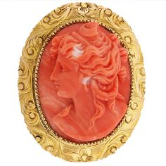 Beautiful high relief carved coral cameo of a female bust with upswept hair with a yellow gold carved border with floral and foliate motif. Agate Jewelry, Cameo Jewelry, Coral Jewelry, Old Jewelry, Antique Jewelry, Vintage Jewelry, Jewelery, Romantic Period, Coral And Gold