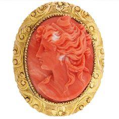 Victorian Coral Cameo Brooch - Romantic Period 1837-1860 - AJU