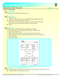 The student will classify information in text.