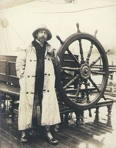 Alex Teschner beside the wheel of the three-masted German bark PERA, Port Blakely, Washington, Wilhelm Hester Collection University of Washington Libraries. Old Pictures, Old Photos, Vintage Photographs, Vintage Photos, Sea Captain, Foto Art, Tall Ships, Cthulhu, Sailing Ships