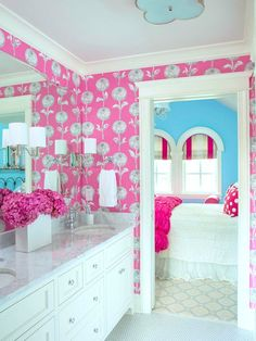 Cute #bathroom for a teenage #girl. Love the #wallpaper and #hydrangea