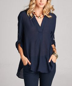 Look what I found on #zulily! Navy Roll-Tab Notch Neck Top #zulilyfinds 60/40 rayon/love, Liza $36.