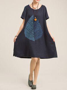 fashion Women dress Large size Loose print dress