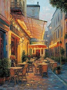 "ART FOR YOUR EARLY MORNING ""Cafe vanGogh 2"" Artist Haixia Liu, Chinese painter Lieu was born to a family of artists in 1962 in Hubei Province, China. Encouraged and instructed by his father and grandfather, he began to draw at very early age. He did paintings for local businesses at age 12. Between 1981 and 1983 Liu chose to learn graphic design at the Hubei Industry Institute. From 1983-1987, by dreaming to be an artist, he continued to seek his BFA at the Hubei Fine Art Aca... See More"