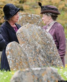 'Downton Abbey' Series 4 Pictures - Maggie Smith As The Dowager In Graveyard Where Lady Sybil And Matthew Crawley Are Buried
