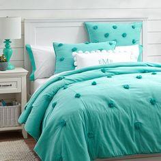 turquoise puff quilt