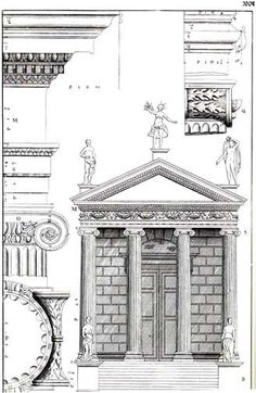 """""""The Temple of Fortuna Virilis"""" in Isaac Ware, The Four Books of Andrea Palladio's Architecture, London, 1738."""