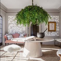 """Martyn Lawrence Bullard (@martynbullard) on Instagram: """"Sexy Saturday .... a burst of living greens supply an unexpected hanging centerpiece to this entry…"""""""