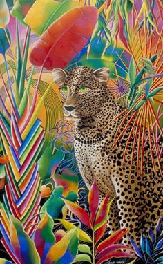 By Judy Sayfie, leopard in the jungle painting