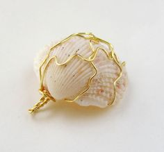charm wire wrapped pale scallop shell ready to ship