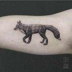 Fox Geometry Tattoo on Arm