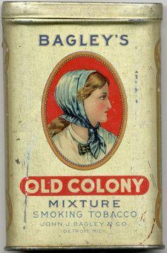 Bagleys Old Colony Tobacco Pocket Tin - by Mebane Antique Auction Vintage Tins, Vintage Labels, Vintage Antiques, Coffee Tin, Tin Containers, Vintage Packaging, Antique Bottles, William Morris, Tin Toys