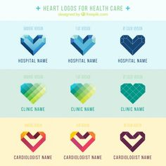 Heart logos for health care  Free Vector