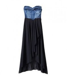 Vintage High Waist Denim Dress with Irregular Chiffon Hem
