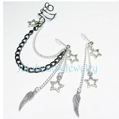 Wing and star chain ear cuff earring http://www.jujubeads-jewelry.com